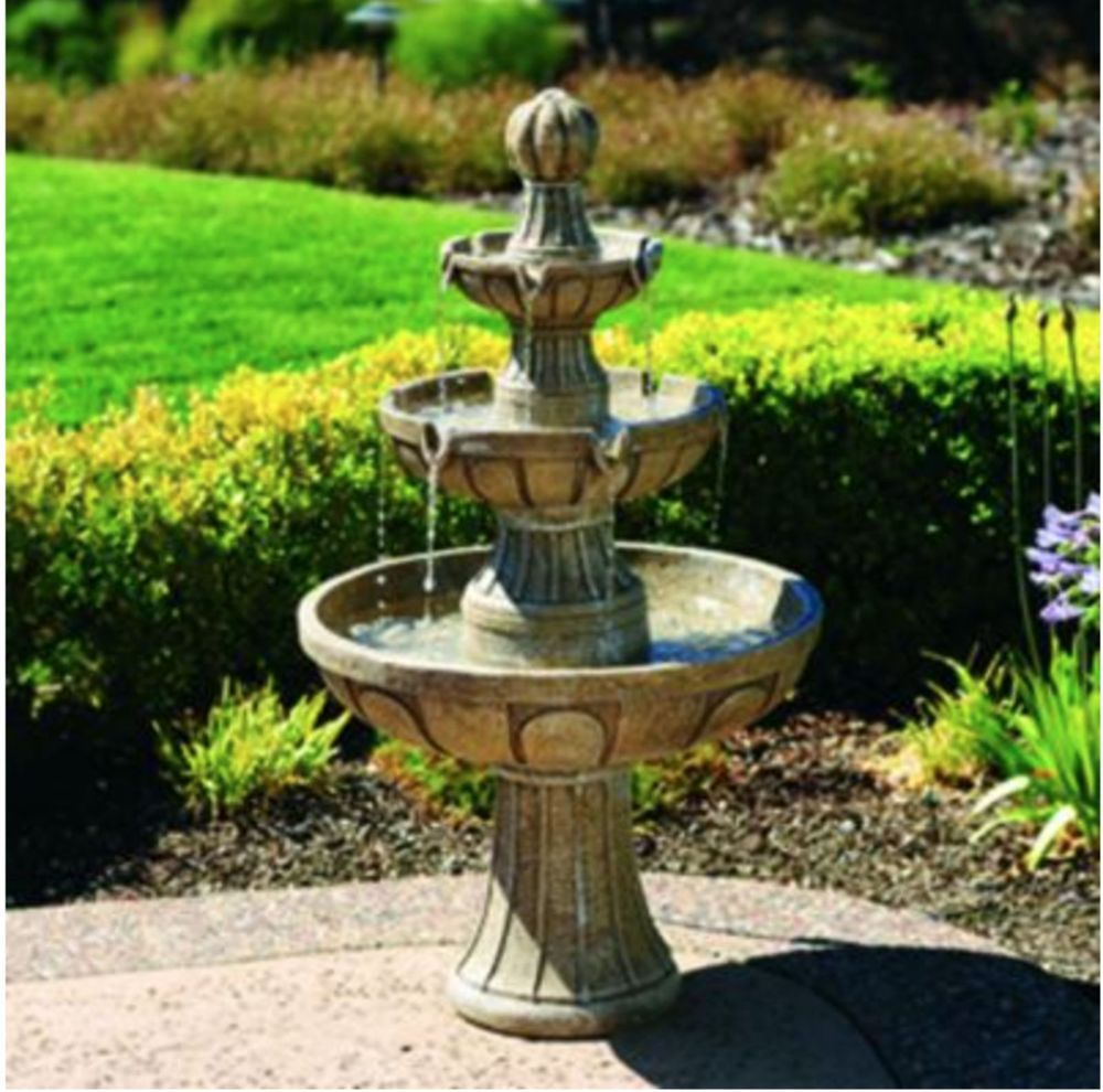 Outdoor Decor Water Fountain Garden Waterfall 3 Tiers Recirculate