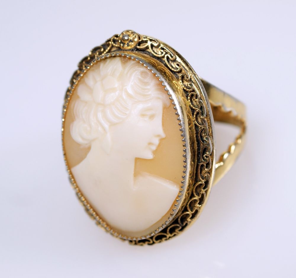 Vintage 1/20 12K GF Carved Shell Cameo Ring Adjustable #Cameo Ring #cherryorchardattic