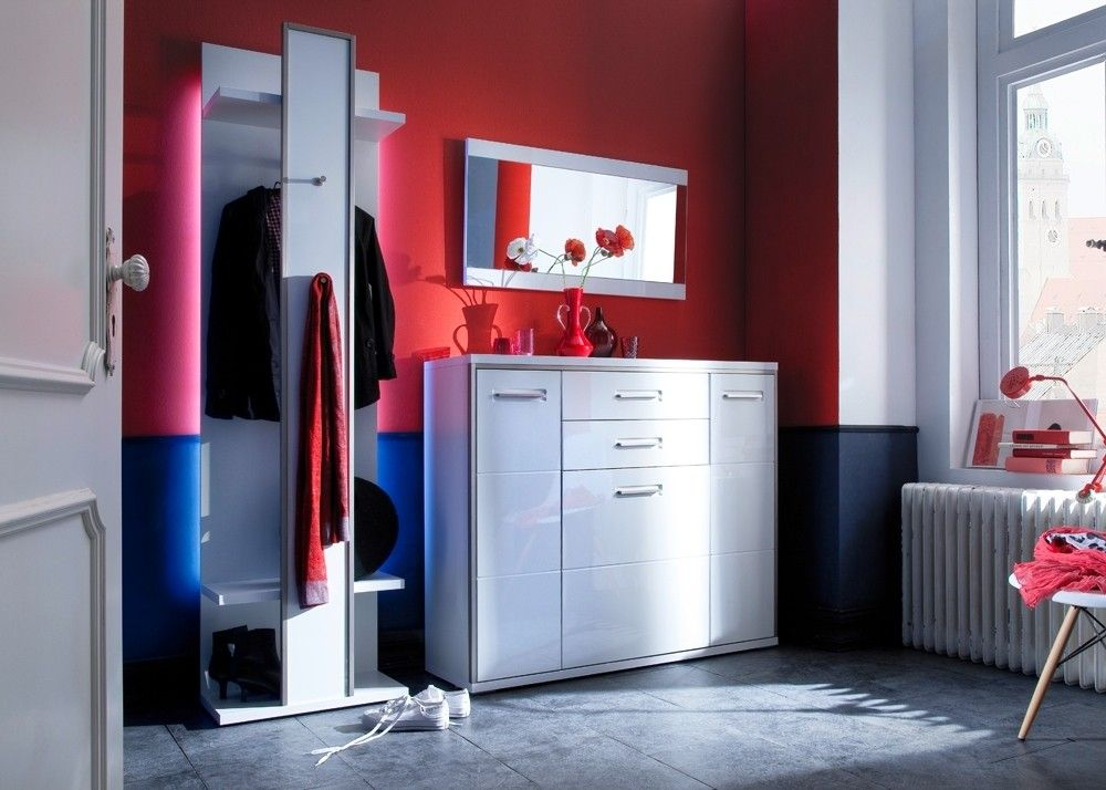 Garderobe komplett Trento 2 Garderobenset Weiß HG mit Edelstahl 20895