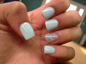 Super cute mint & silver acrylic nails. I would like to do this with a light pur…