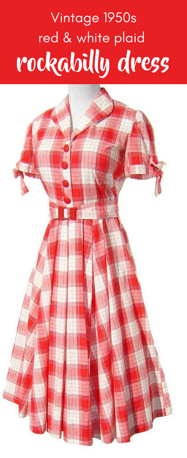Adorable vintage early us cotton day dress in a bright red and