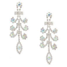 Rhinestone and Iridescent Crystal Layered Fleur De Lis Drop Earrings