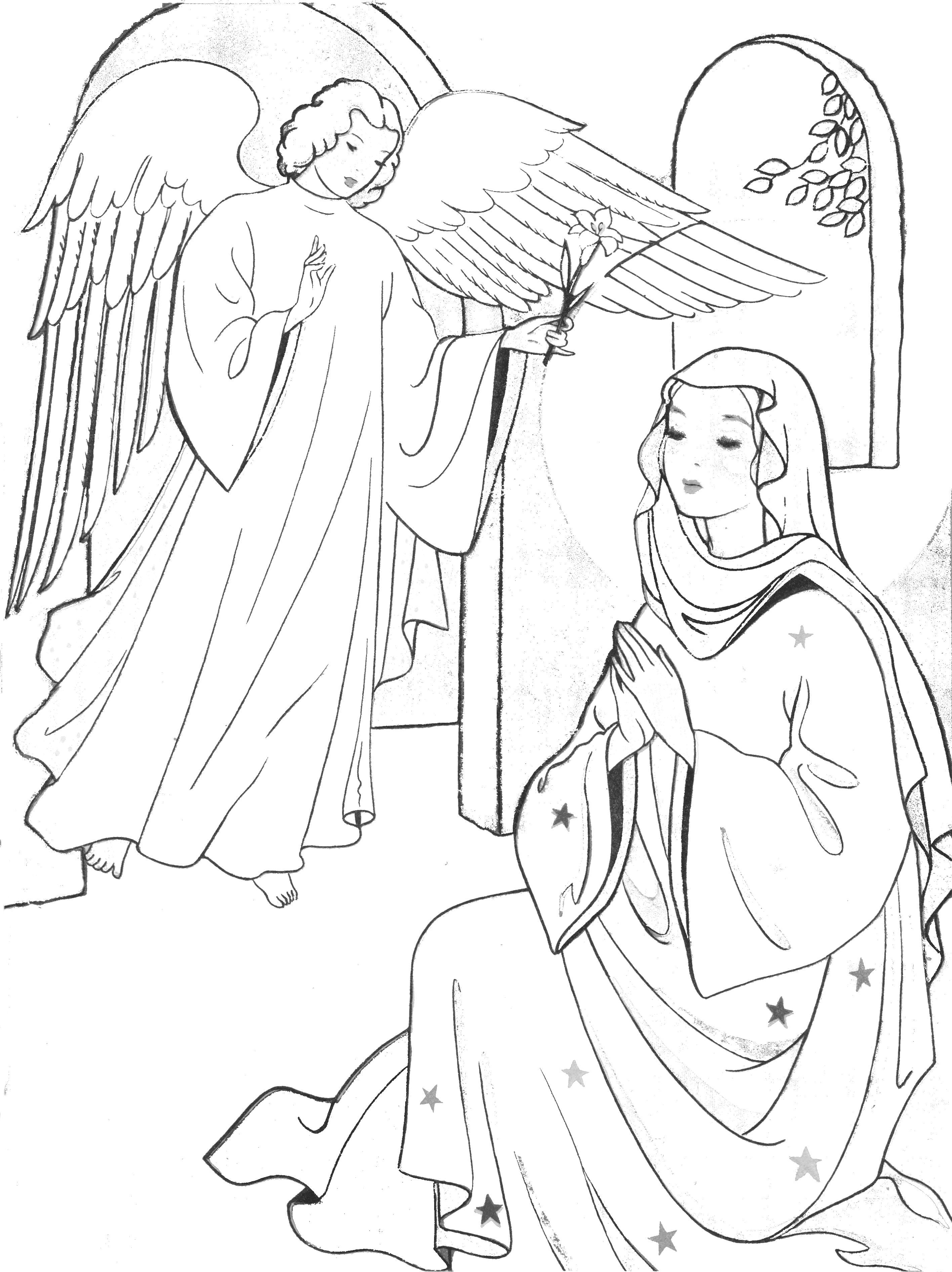 Annunciation Coloring Pages Sunday School Coloring Pages Catholic Coloring Bible Coloring Pages