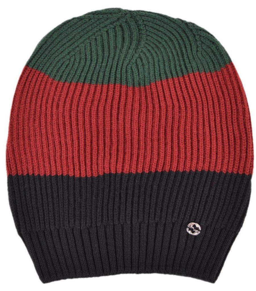 NEW Gucci Men's 310777 Wool Red Green Black Interlocking GG Slouchy Beanie Hat
