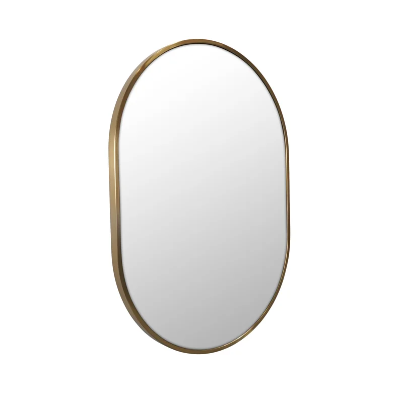Pill Shape Modern Contemporary Vanity Mirror Framed Mirror Wall Stainless Steel Frame Frames On Wall