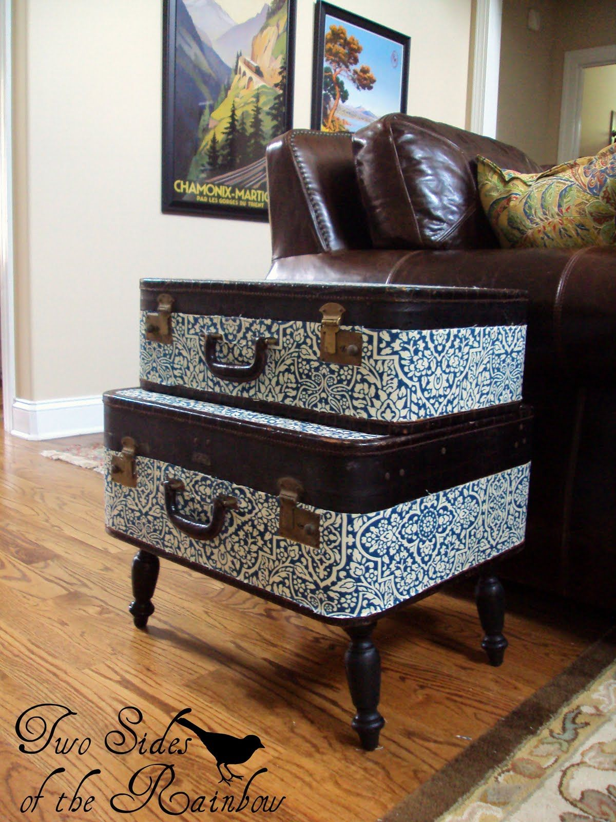 Two Sides Of The Rainbow: {Vintage} Suitcase End Table