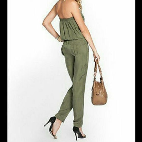ed2b5eae2e5 Guess Strapless Jumpsuit Stylish Guess Olive Green Silk Jumpsuit. Size  Large. Dry cleaned. Guess Pants Jumpsuits   Rompers