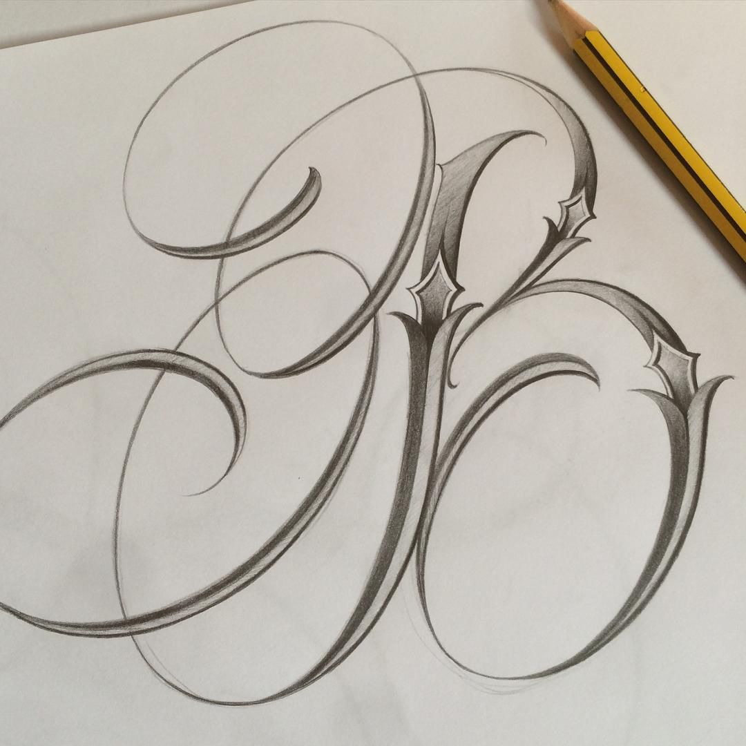 INITIAL DAY B sketch Tattoo lettering fonts