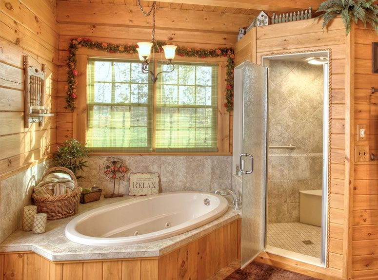 Log home interior gallery hochstetler milling dream for Log cabin bathroom pictures