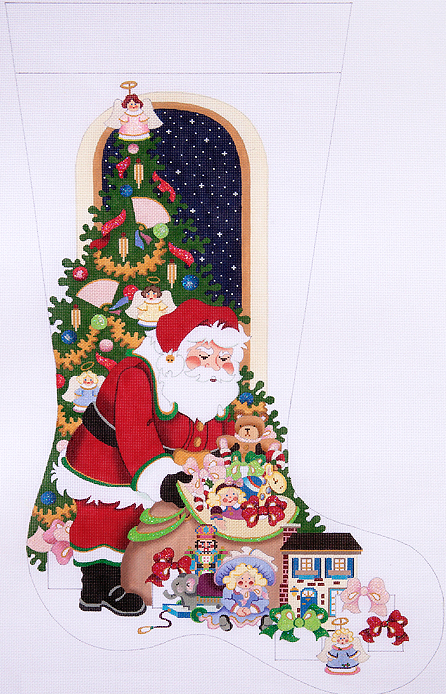 santa with toy bag angels cs278 is a christmas needlepoint stocking canvas design by strictly christmas available from the needle nook of la jolla - Strictly Christmas Needlepoint