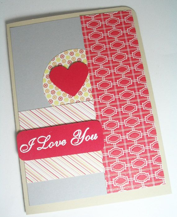Handmade Valentine Card I Love You by MissTanDesigns on Etsy