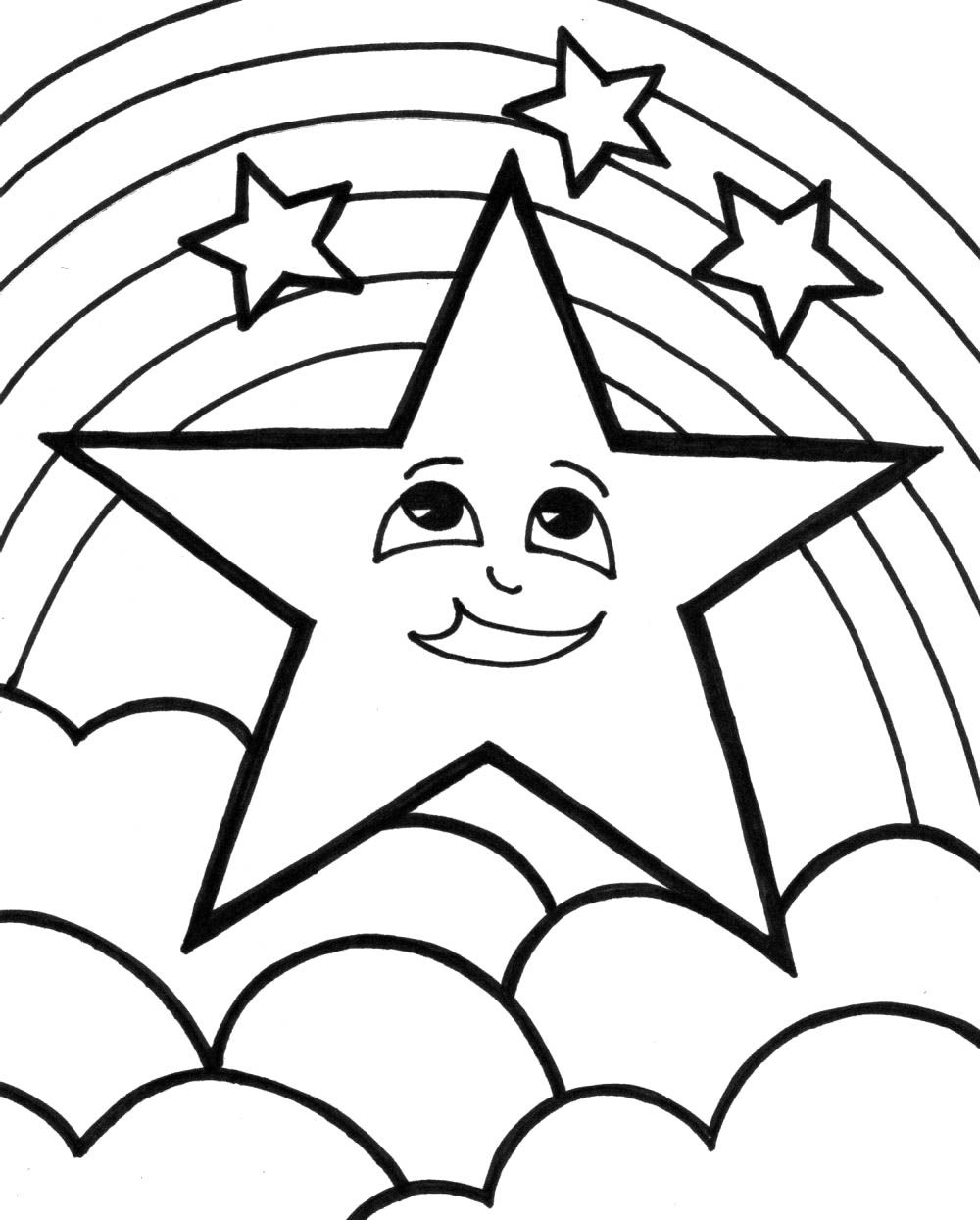 Christmas Star Is Located Above The Clouds Coloring Page | Learn ...