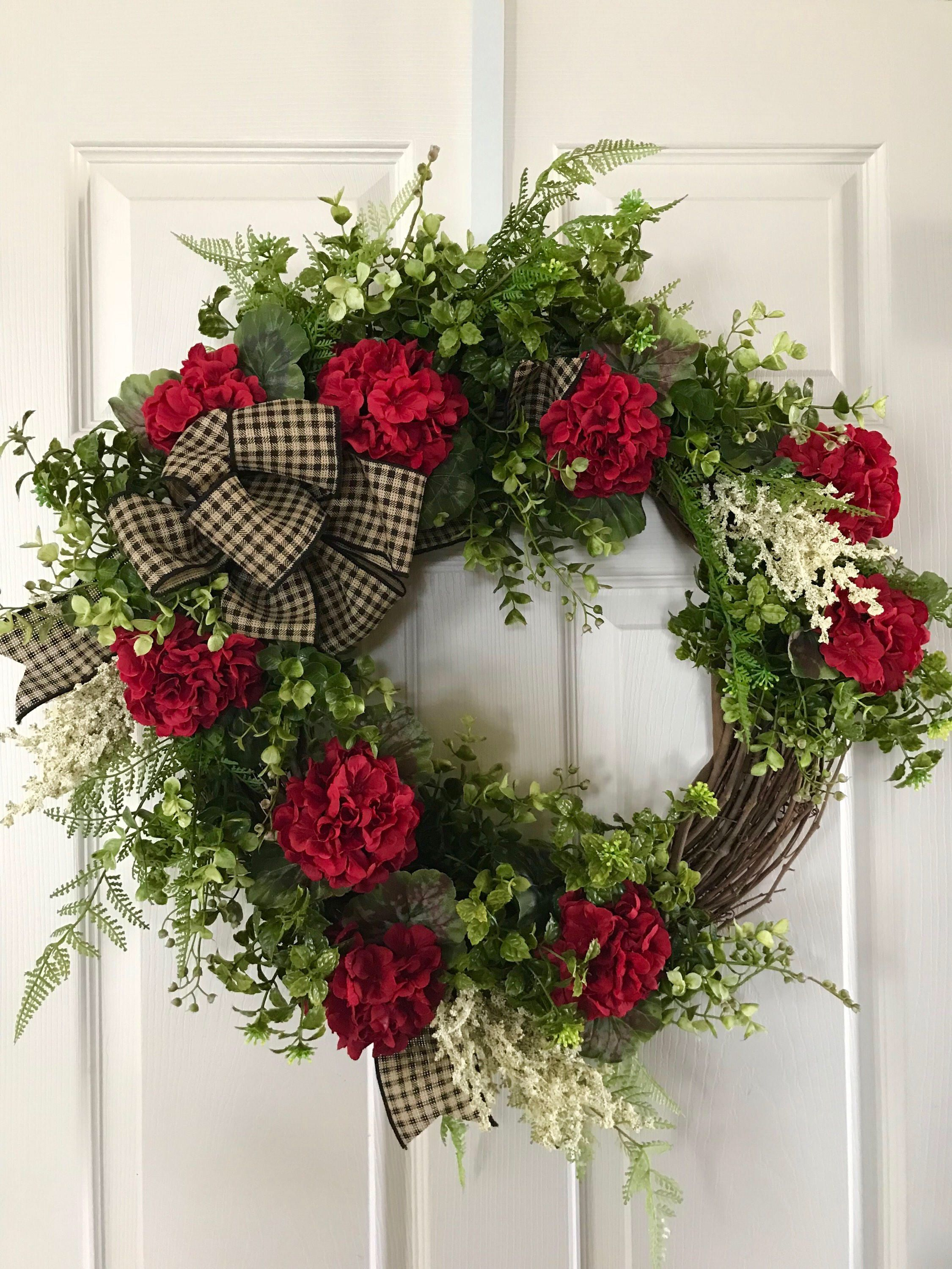 Spring Wreath For Front Door Summer Wreath Geranium Wreath By Toleshack On Etsy Https Www Etsy Wreaths For Front Door Summer Wreath Spring Front Door Wreaths