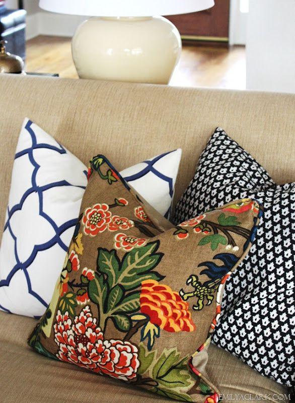 Clarke Fabric Sectional Sofa Living Room: Schumacher Chiang Mai Dragon Linen Pillow