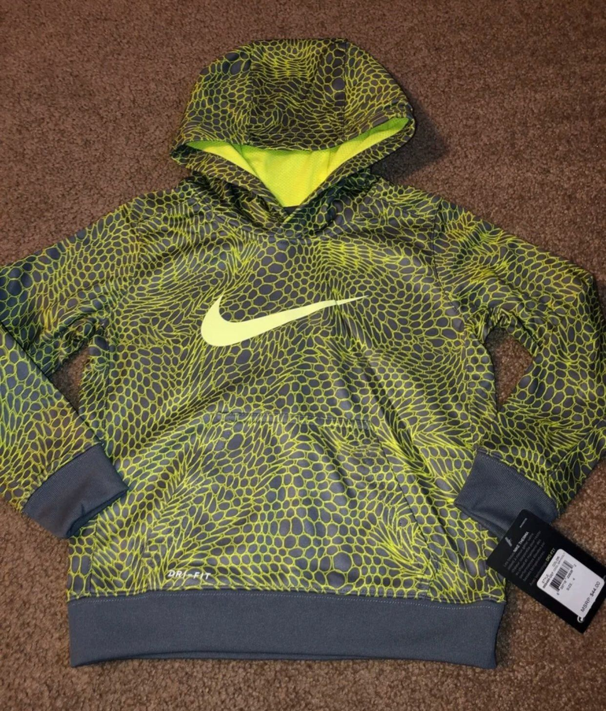 Boys Nike Dri Fit Hooded Sweatshirt Size 4 Color Is Cool Grey Volt New With Tags Any Questions Please Ask Comes Hooded Sweatshirts Nike Hoodie Boys Nike [ 1458 x 1242 Pixel ]