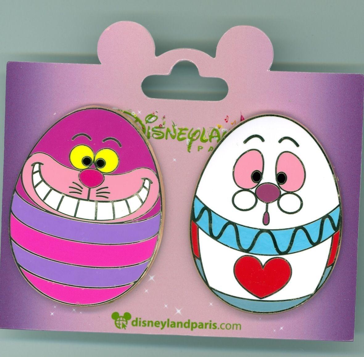 Disney Paris Alice In Wonderland Cheshire Cat White Rabbit Easter Eggs Pin Set