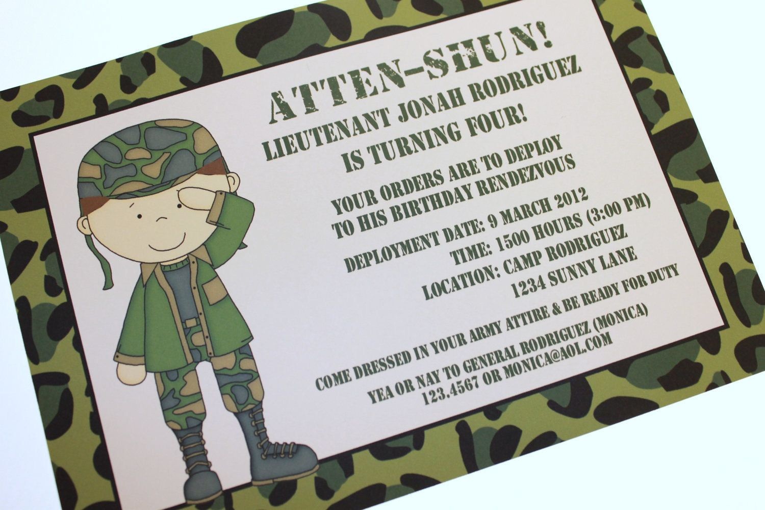 Army Military Camo Camouflage Birthday Invitations Camo Nerf