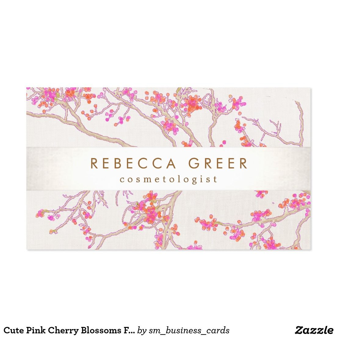 Cute pink cherry blossoms floral beauty business card perfect for cute pink cherry blossoms floral beauty business card perfect for day spas manicurists reheart Choice Image