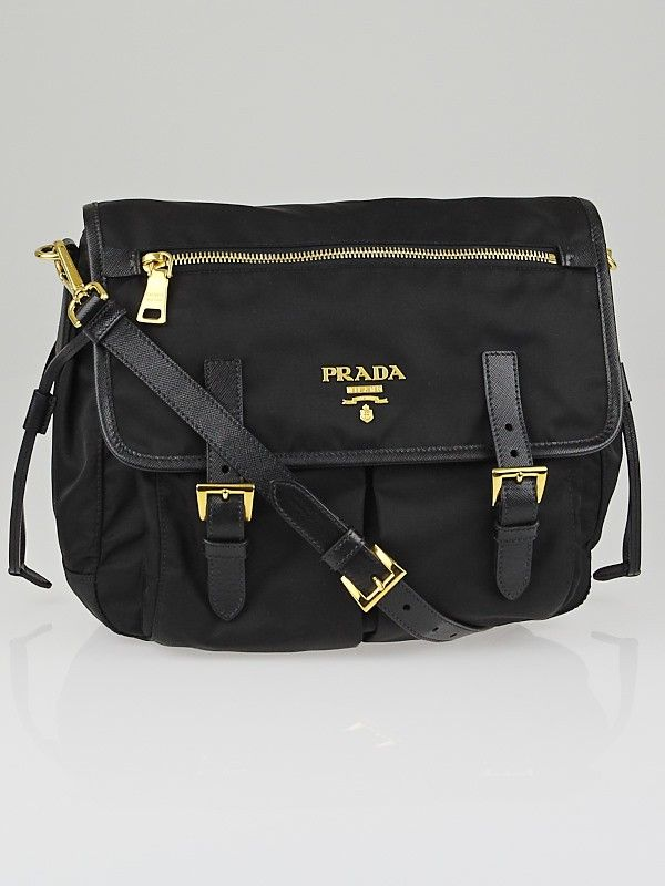 3b1d78859fb7 Prada Black Tessuto Nylon and Saffiano Leather Medium Messenger Bag ...