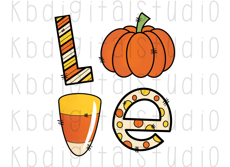 Pumpkin Candy Corn Love Lettering Halloween Clip Art Full
