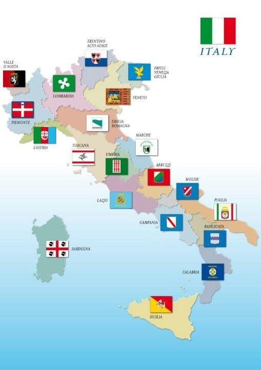 Karte Italien Regionen.Banderas De Las Regiones Italianas Italiano Italien Flagge