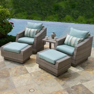 RST Brands Cannes 5 Piece Wicker Patio Chat Set With Bliss Blue Cushions