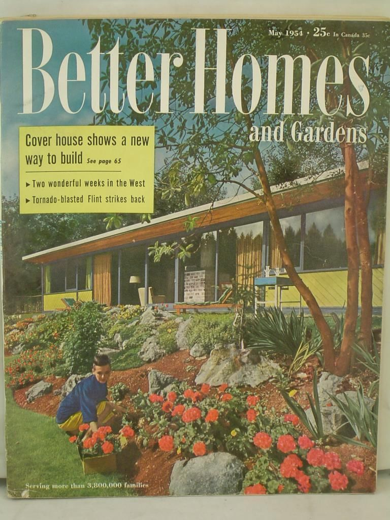 1954 Better Homes Gardens Magazine Cover House Shows A New Way to ...