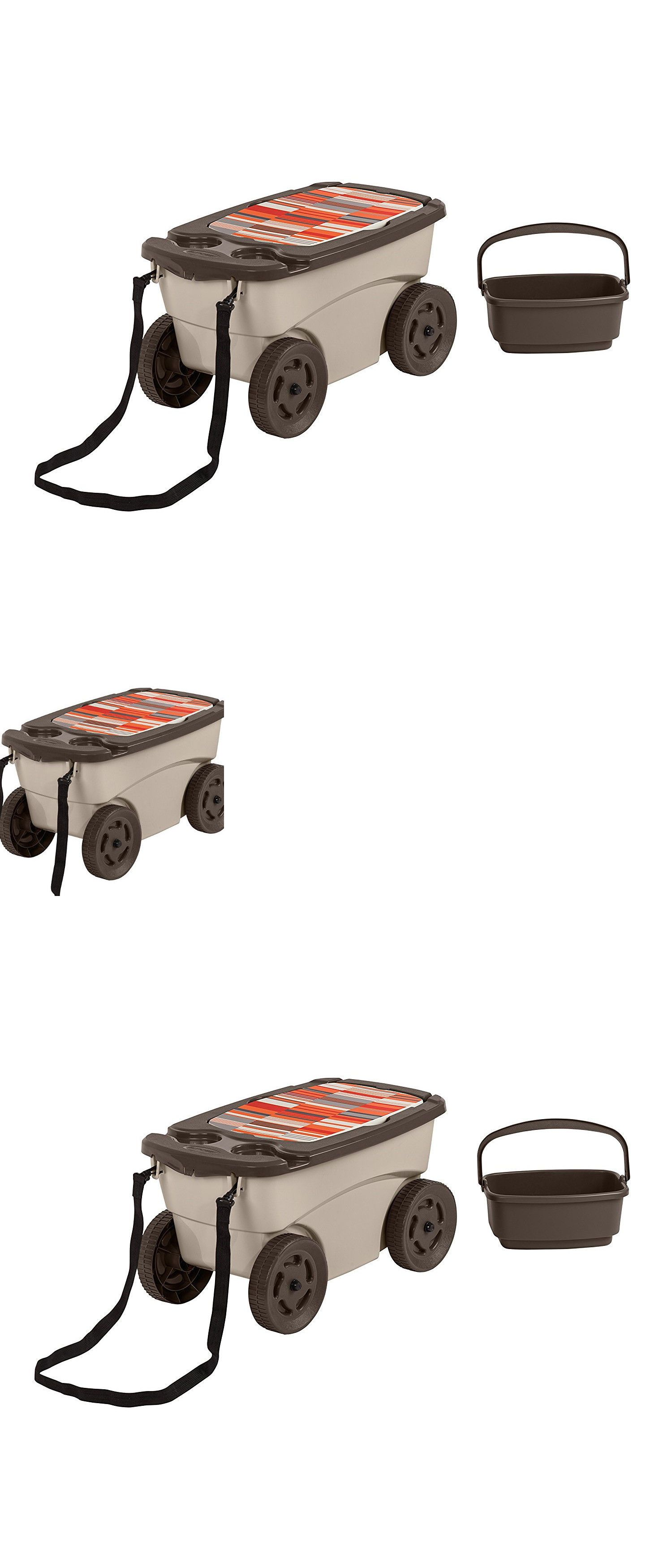 Garden Kneelers Pads And Seats 75669: Portable Garden Scooter Seat Supply  Tool Drink Holder Orange