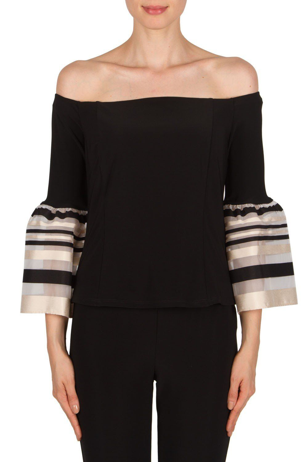 f30721884b53 Joseph Ribkoff Off Shoulder Top in Black Taupe (Style 181912 ...