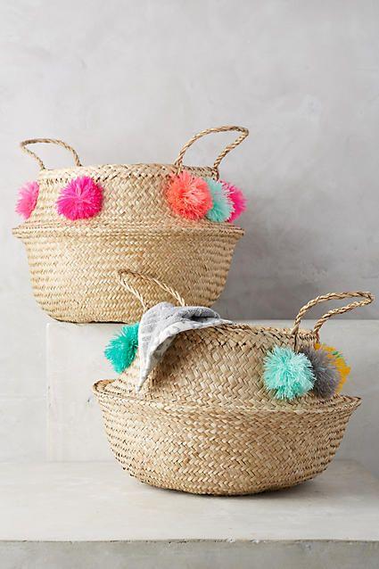 118 pom pom seagrass basket anthropologie baskets etc pinterest rattan playrooms and. Black Bedroom Furniture Sets. Home Design Ideas