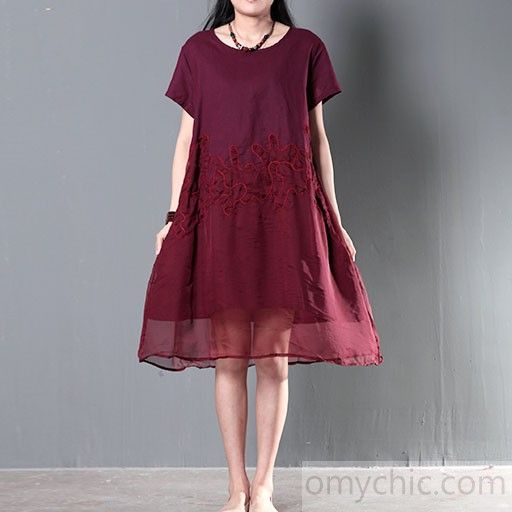 e71f13632ee7 Burgundy summer dress plus size silk lace patchwork linen sundress cotton  clothingThis dress is made of cotton or linen fabric