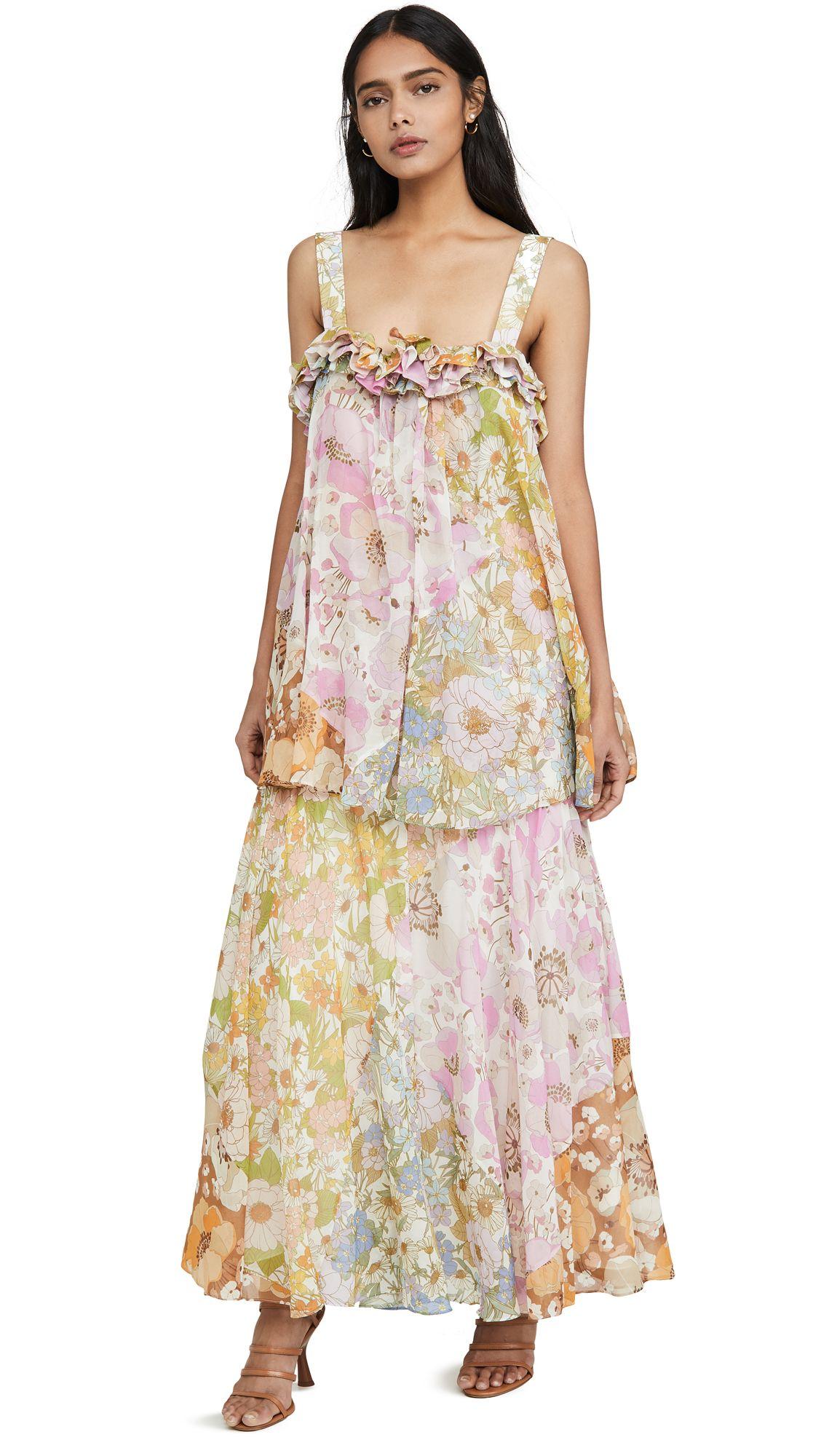 Zimmermann Super Eight Floral Print Cotton And Silk Blend Maxi Dress In Green Modesens In 2020 Maxi Dress Dresses Dress Fabric