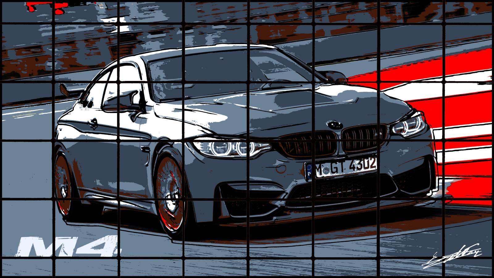 peinture bmw m4 acrylique pop art noir blanc gris rouge moderne circuit virage droite piste - Peinture Gris Rouge