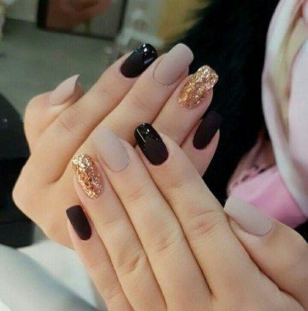 best nails matte black glitter gold 45 ideas  elegant