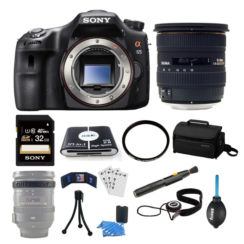 Sony SLT-A65V a65 DSLR Camera Body Bundle with Sigma 10-20mm f/4-5.6 ...
