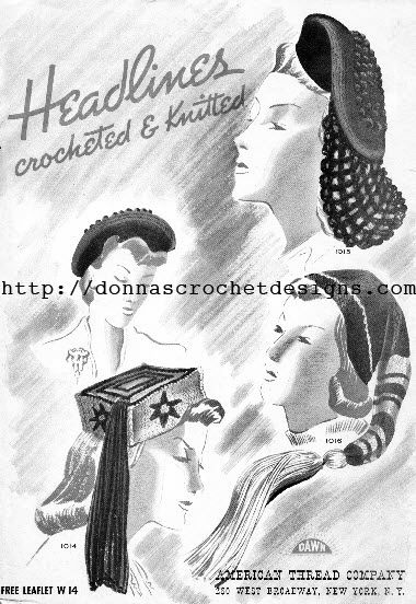 The Vintage Pattern Files: 1940's Crochet - Purse & Hat Patterns