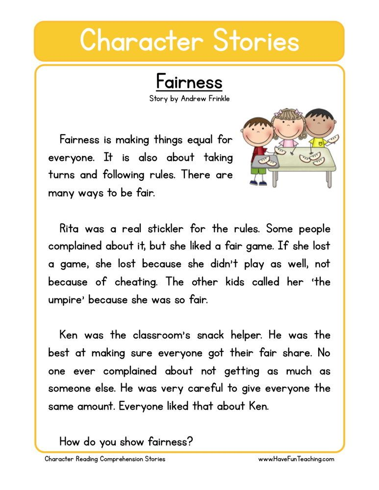 Reading Comprehension Worksheet - Fairness | Reading ...