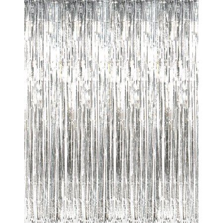 3 X 8 Silver Tinsel Foil Fringe Door Window Curtain Party