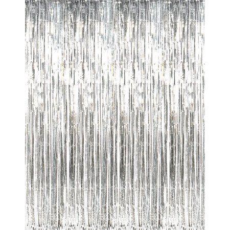 3 x 8 silver tinsel foil fringe door