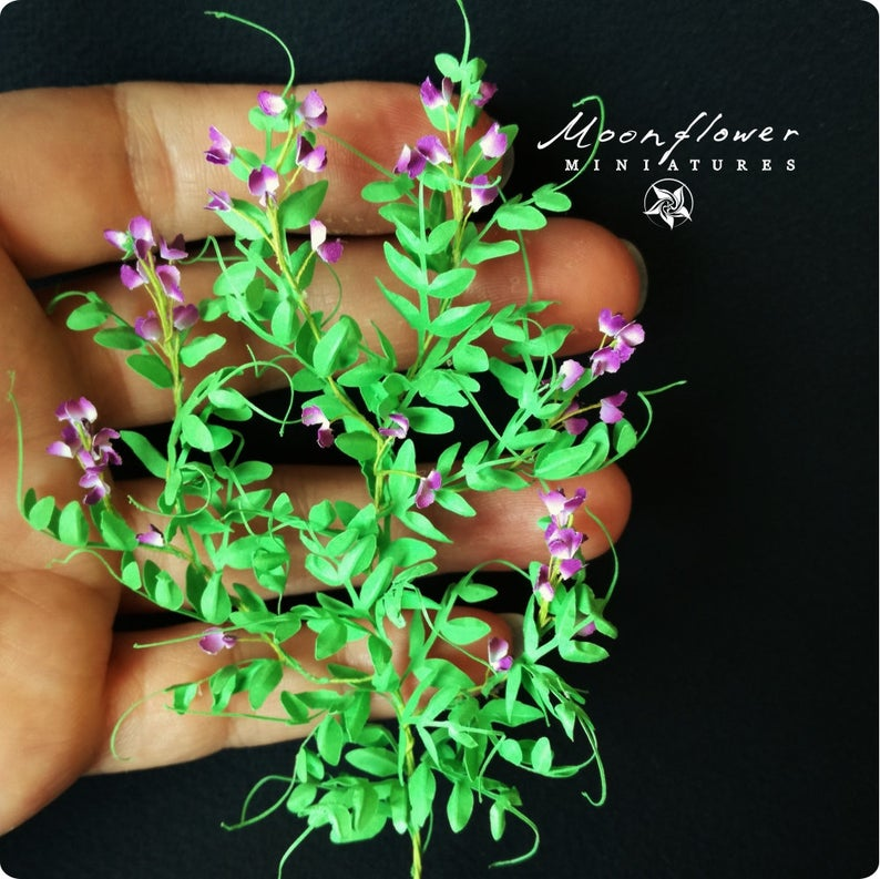 Fine 1//12 Scale Miniature Flower Gorgeous Purple Flower For Dollhouse