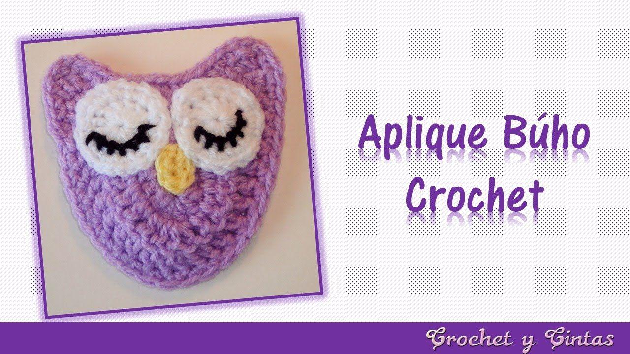 Aplique de búho crochet (ganchillo) | Videos de Saquitos para bebé ...