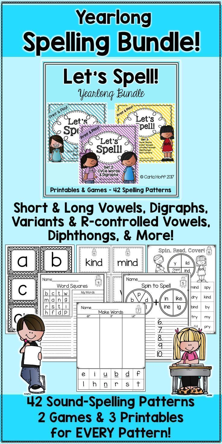Yearlong Spelling Practice Bundle - Worksheets & Games for 42 ...