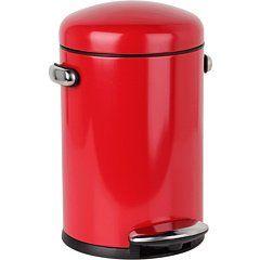 Amazon.com: simplehuman Round Retro Step Trash Can, Red Steel, 4-1/2-Liter / 1.2-Gallon: Home & Kitchen