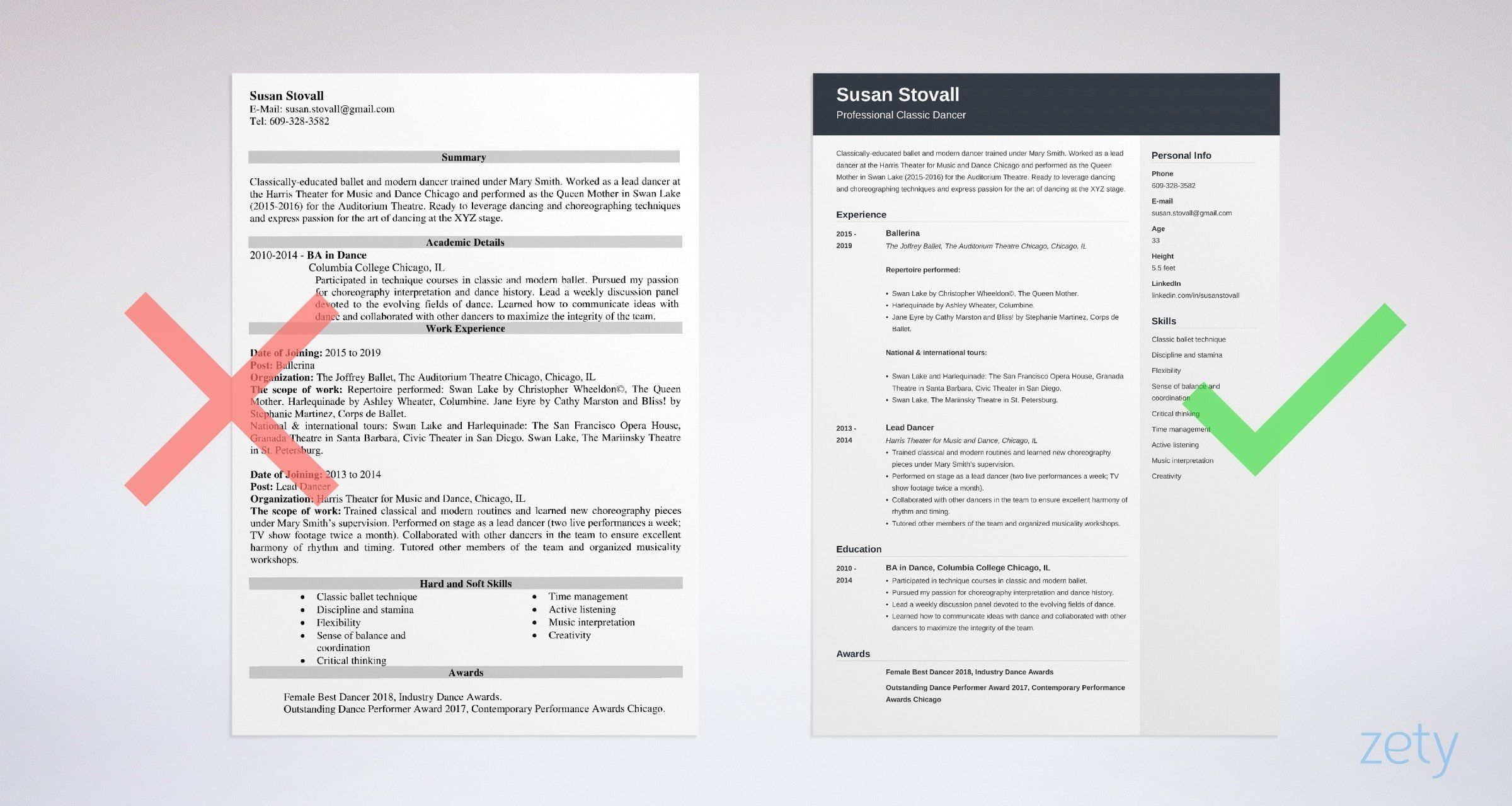 Dance Resume Example For Professionals Or College Grads Dance Resume Resume Profile Examples Resume Examples
