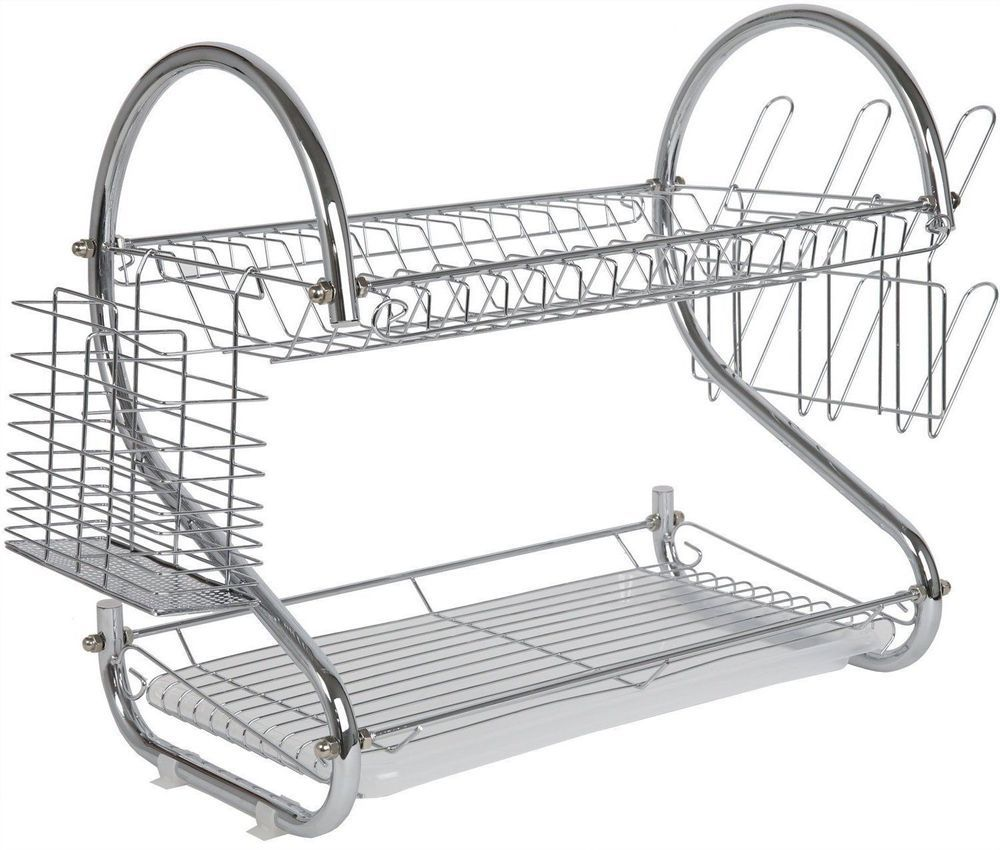 2 Tier Stainless Steel Dish Rack Space Saver Dish Drainer Drying