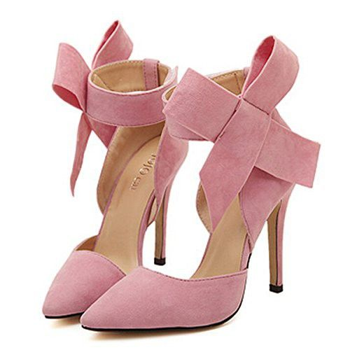 YH Pointy Suede High Heel Women s Shoes with Big Bowknot Pink 37 Stiletto  Shoes