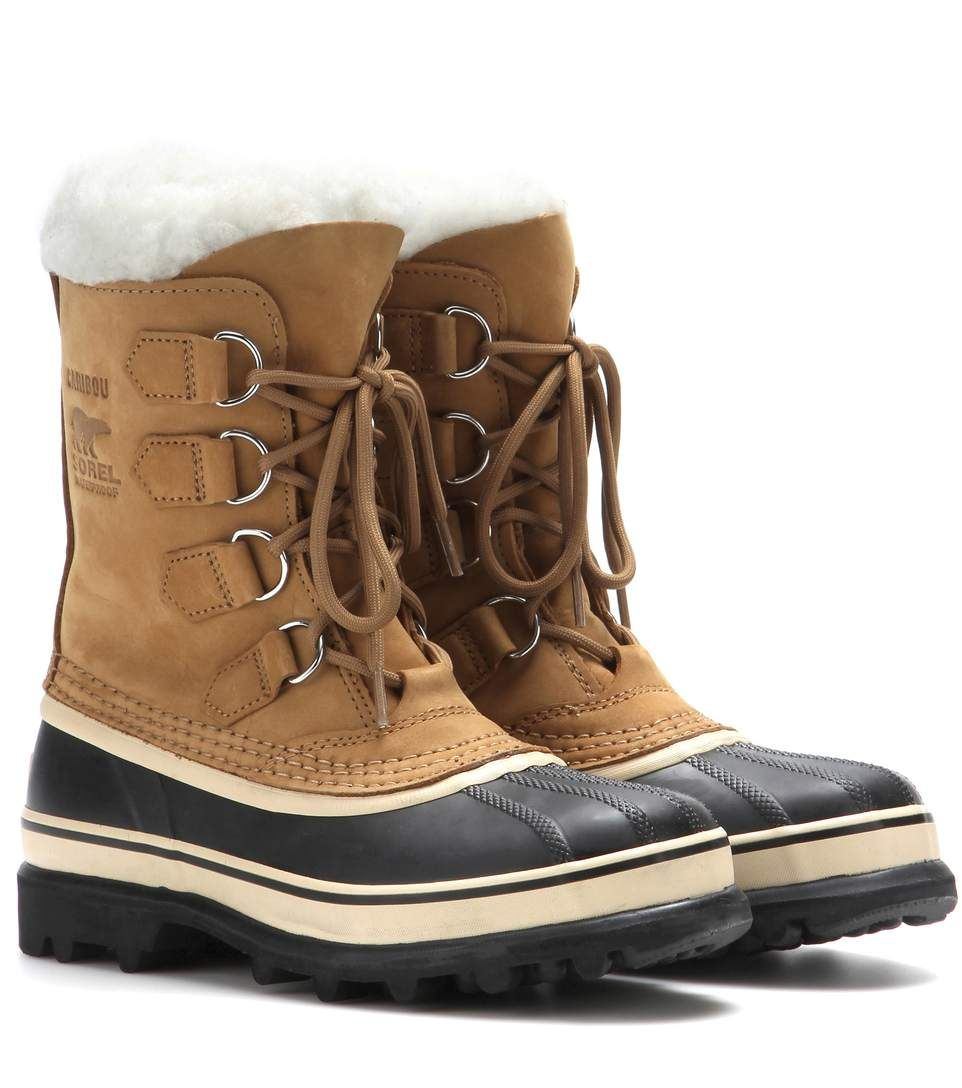 Beige Caribou leather and rubber boots | Fashionable snow