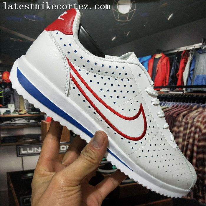 2d935294b Special Nike Classic Cortez Punching Mens Sports Shoes Red White Blue
