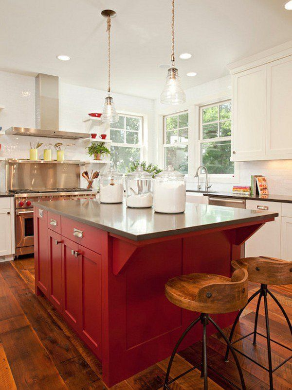 Beautiful Barn Red Kitchen Island (The Best Barn Red Paint) | The Lettered Cottage