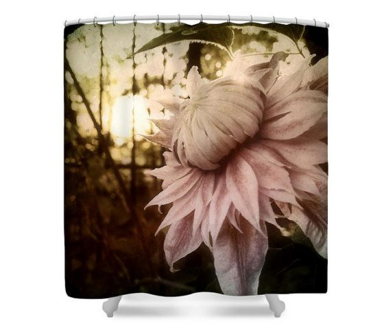 Fabric Pink Clematis Floral Shower Curtain Original by SMSFineArt ...